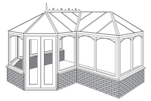 p-shaped or t-shaped conservatories